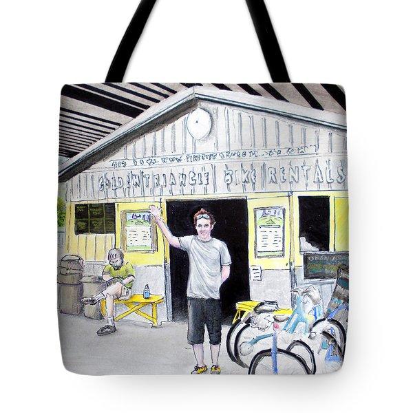 Tote Bag featuring the drawing Bike Pittsburgh by Albert Puskaric