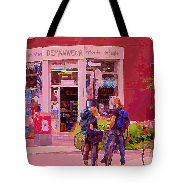 Bikes Backpacks And Cold Beer At The Local Corner Depanneur Montreal Summer City Scene  Tote Bag by Carole Spandau