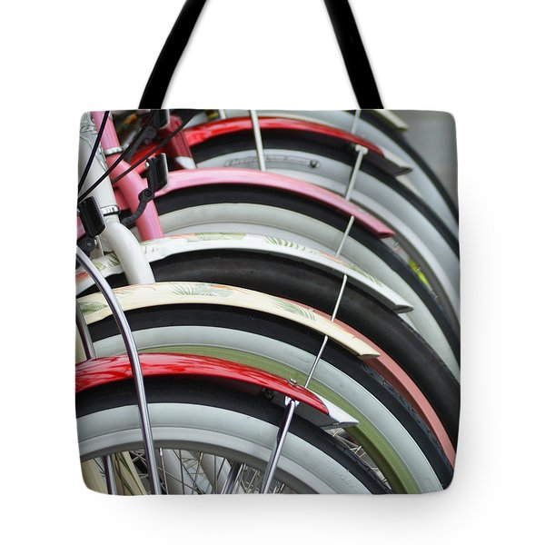 Bikes In A Row Tote Bag by Joie Cameron-Brown