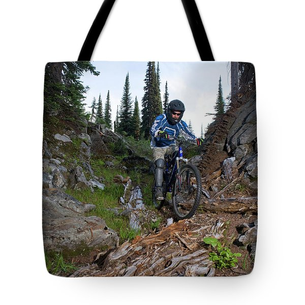 Biking In Alpine Meadow, Sol Mountain Tote Bag