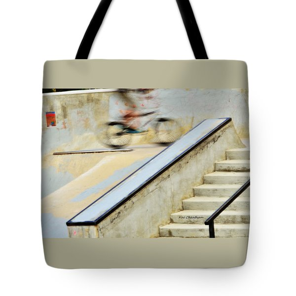 Biking The Skateboard Park Tote Bag