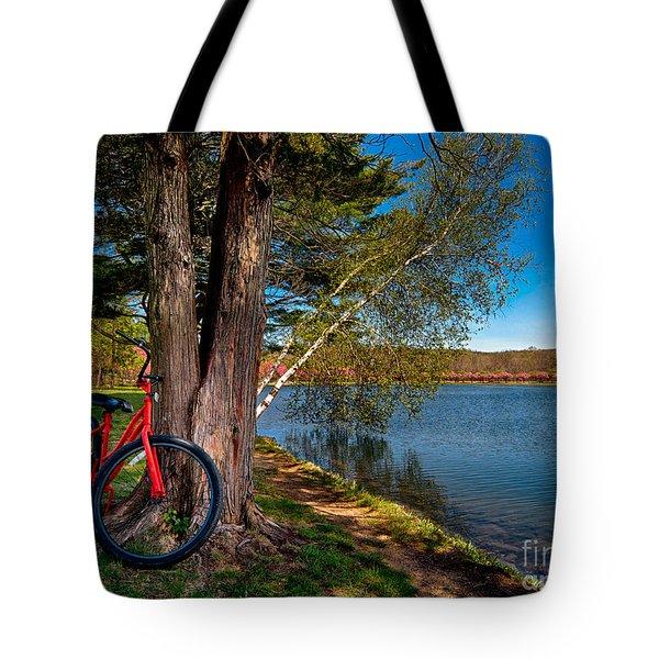 Biking To Horseshoe Lake Tote Bag