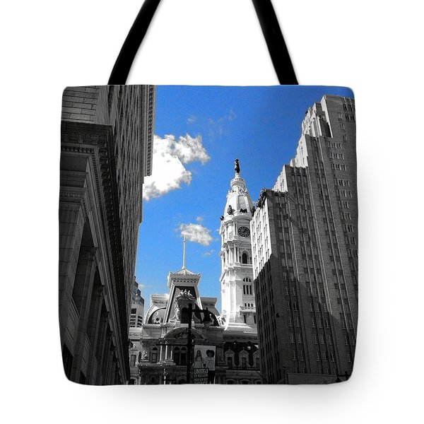 Tote Bag featuring the photograph Billy Penn Blue by Photographic Arts And Design Studio