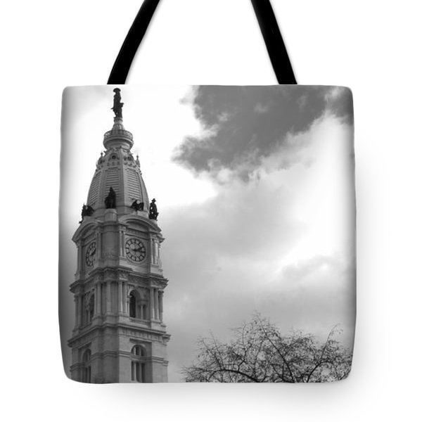 Billy Penn Vertical Bw Tote Bag by Photographic Arts And Design Studio