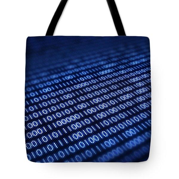 Binary Code On Pixellated Screen Tote Bag by Johan Swanepoel