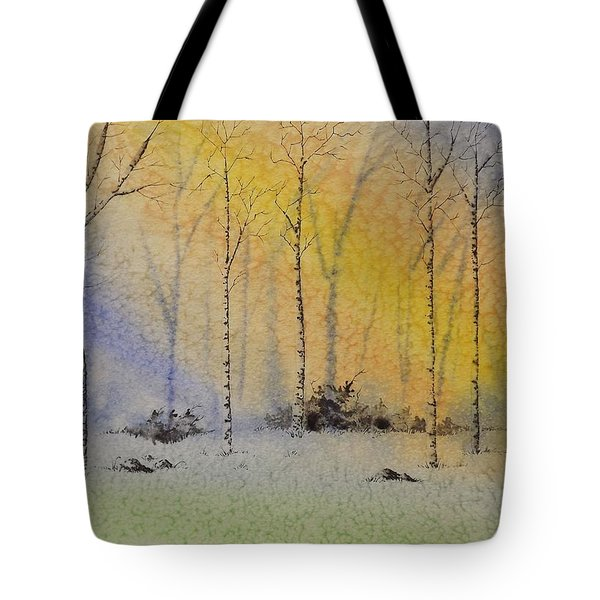 Birch In Blue Tote Bag