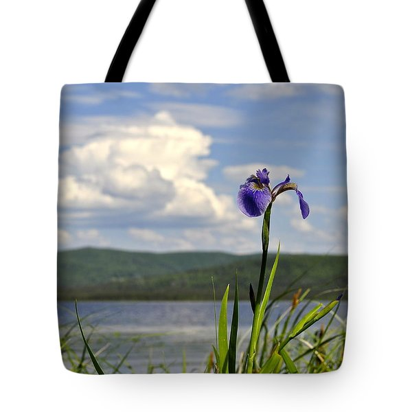 Tote Bag featuring the photograph Birch Lake Iris by Cathy Mahnke