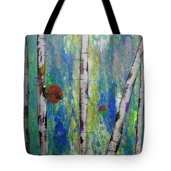 Tote Bag featuring the painting Birch - Lt. Green 4 by Jacqueline Athmann