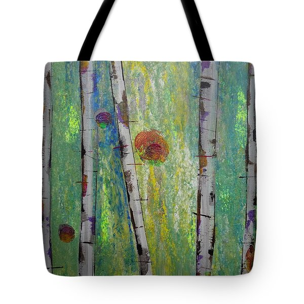 Tote Bag featuring the painting Birch - Lt. Green 5 by Jacqueline Athmann