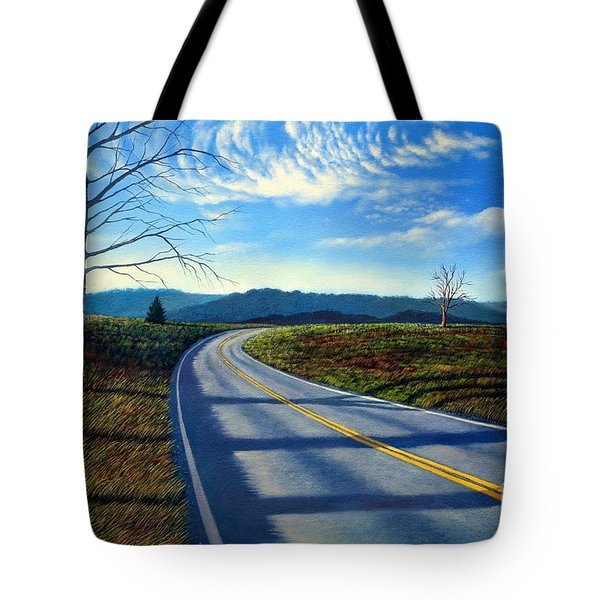 Birch Tree Along The Road Tote Bag