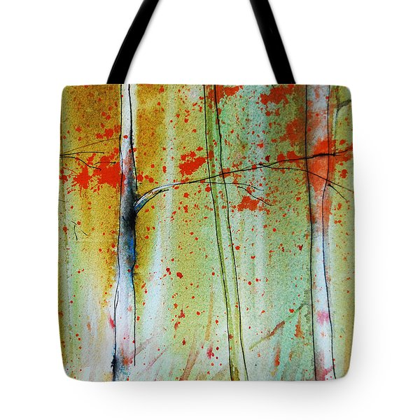 Birch Tree Forest Closeup Tote Bag by Jani Freimann