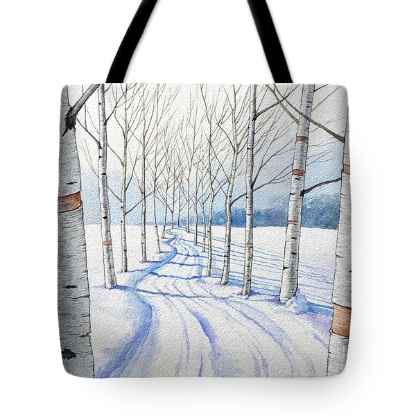 Birch Trees Along The Curvy Road Tote Bag