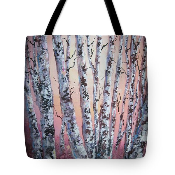 Birch Trees At Sunset Tote Bag by Megan Walsh