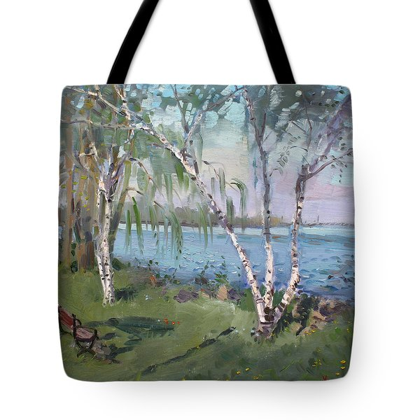 Birch Trees By The River Tote Bag by Ylli Haruni