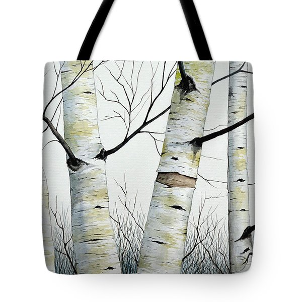 Birch Trees In The Forest By Christopher Shellhammer Tote Bag by Christopher Shellhammer