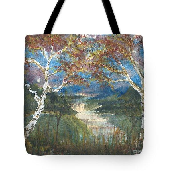 Birch Trees On The Ridge  Tote Bag