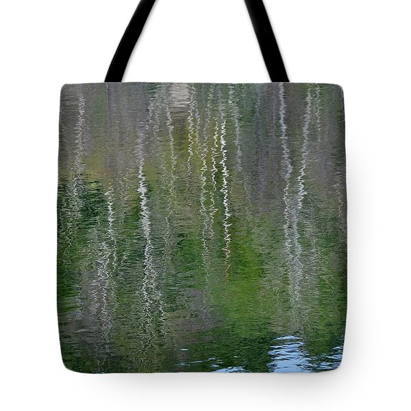 Birch Trees Reflected In Pond Tote Bag