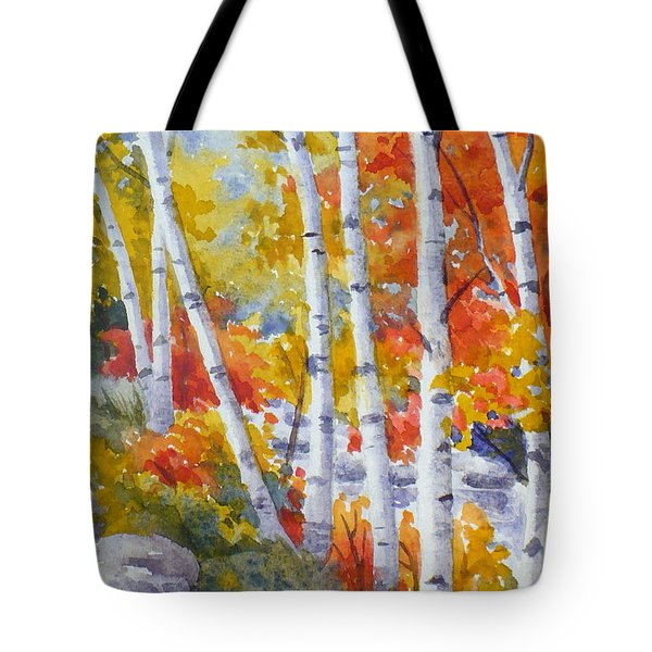 Birches Along The River Tote Bag