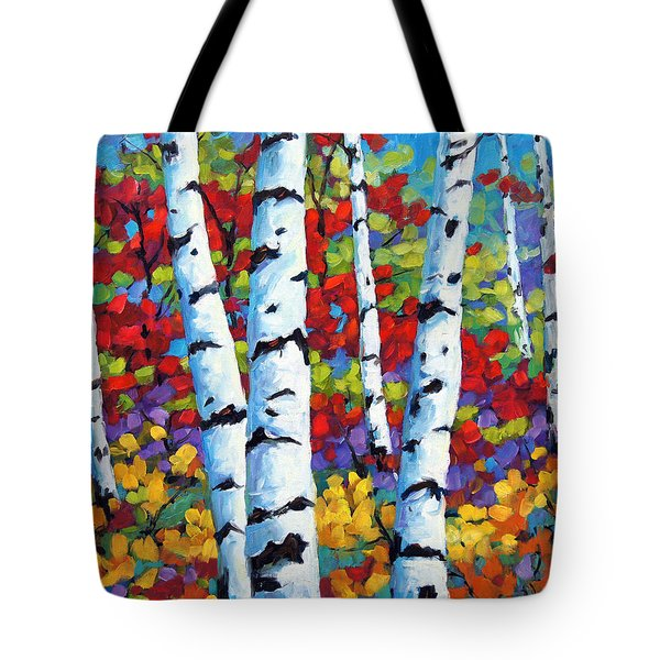 Birches In Abstract By Prankearts Tote Bag