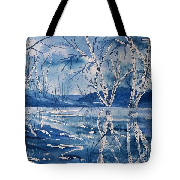 Birches In Blue Tote Bag by Ellen Levinson