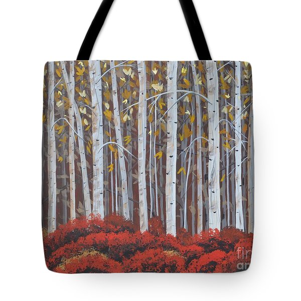 Birches Tote Bag by Sally Rice