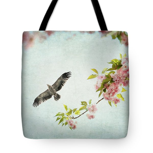 Bird And Pink And Green Flowering Branch On Blue Tote Bag