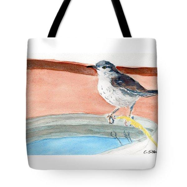 Bird Bath Tote Bag by C Sitton