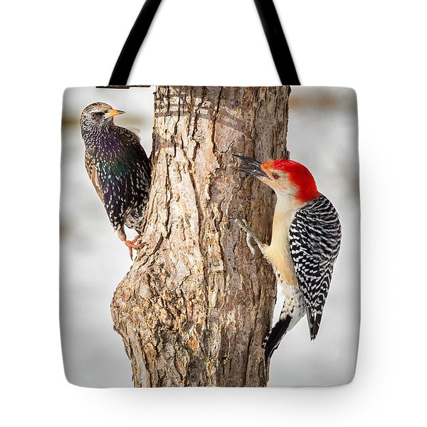 Bird Feeder Stand Off Tote Bag by Bill Wakeley