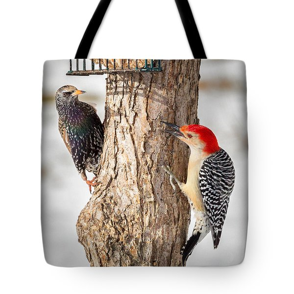 Bird Feeder Stand Off Square Tote Bag by Bill Wakeley