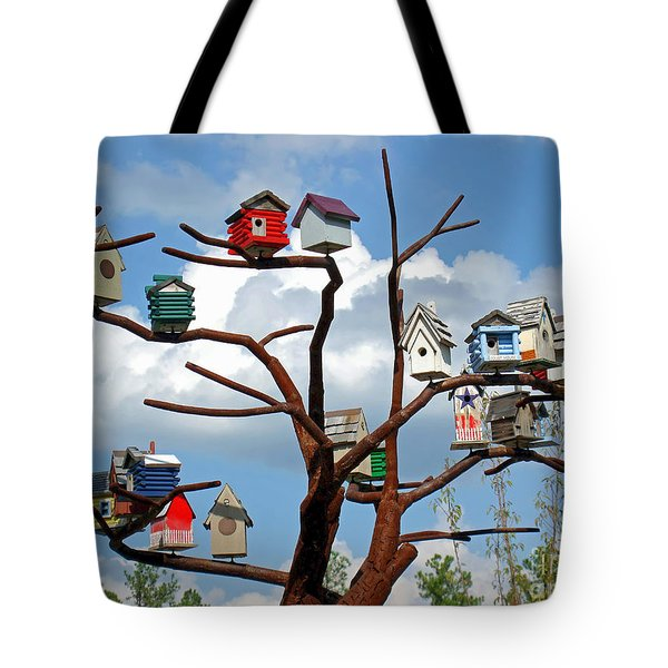 Tote Bag featuring the photograph Bird House Village by Sue Melvin