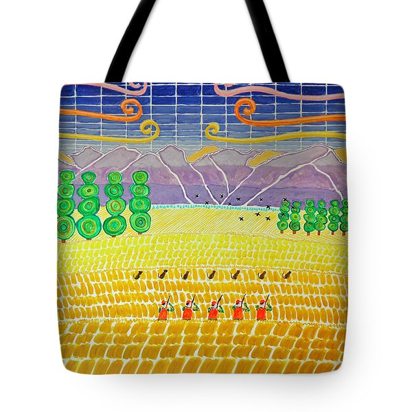 Bird Hunting Lower Valley With Chocolate Labs Tote Bag