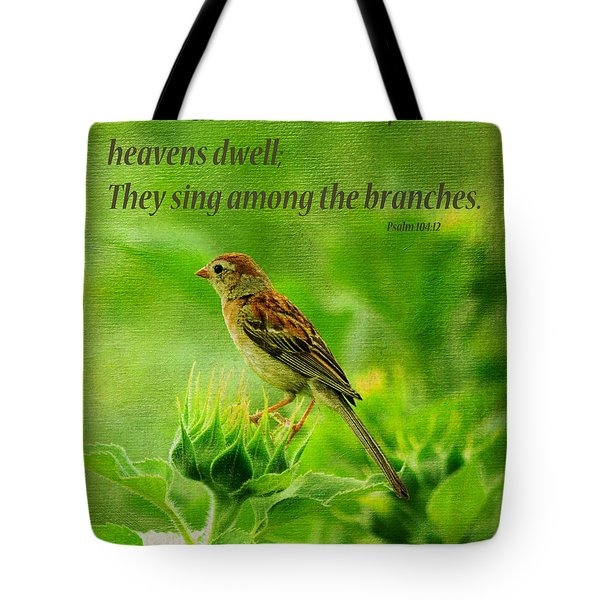 Bird In A Sunflower Field Scripture Tote Bag
