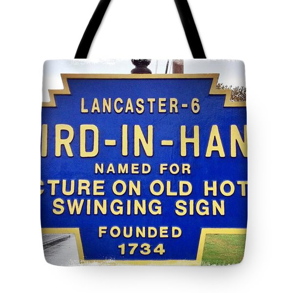 Bird-in-hand City Sign Tote Bag