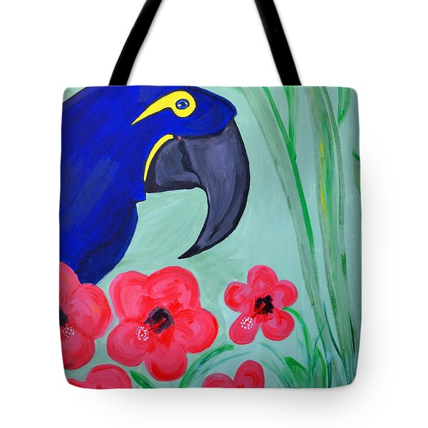 Tote Bag featuring the painting Bird In Paradise   by Nora Shepley