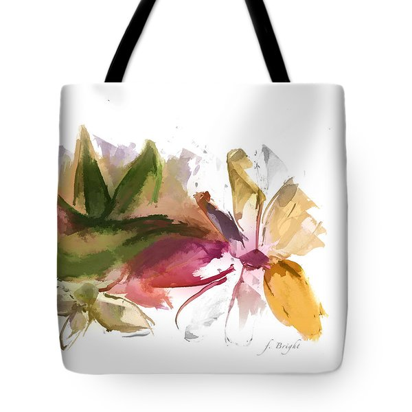 Tote Bag featuring the digital art Bird In The Flowers by Frank Bright