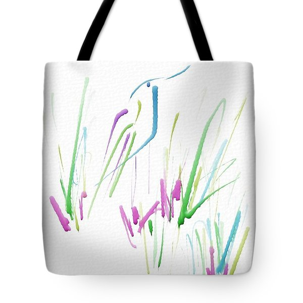 Tote Bag featuring the digital art Bird In The Grass by Frank Bright