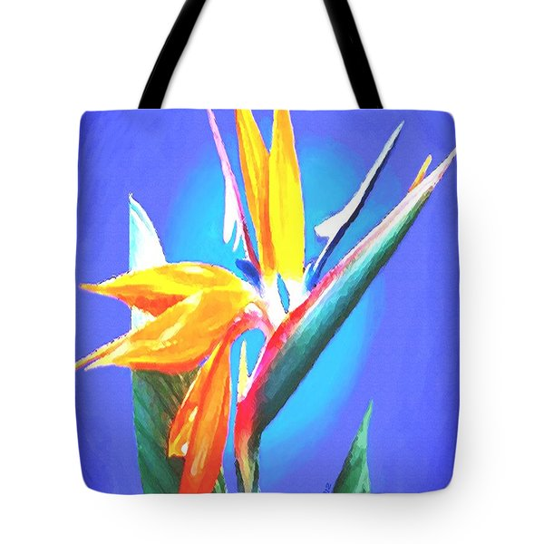 Tote Bag featuring the painting Bird Of Paradise Flower by Sophia Schmierer