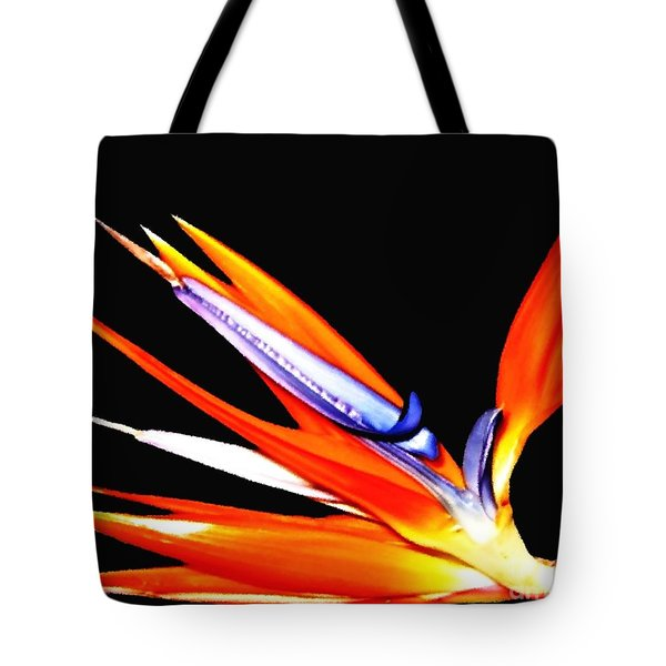 Tote Bag featuring the photograph Bird Of Paradise Flower With Oil Painting Effect by Rose Santuci-Sofranko