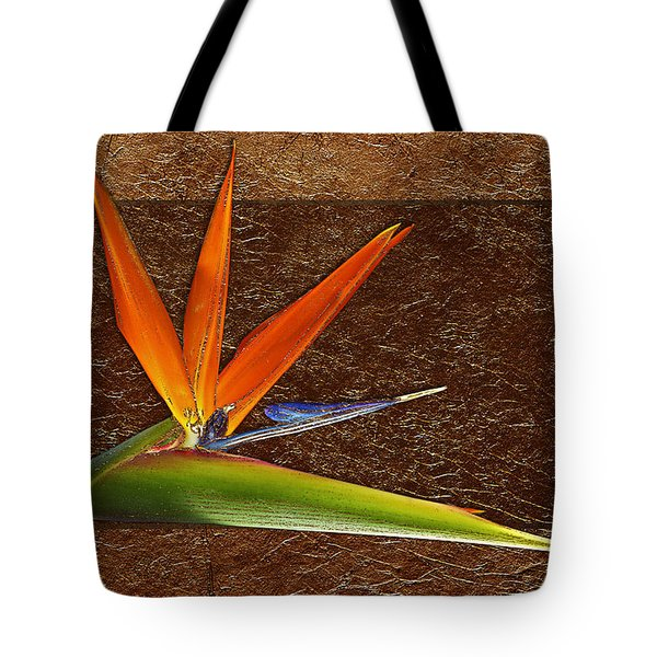 Bird Of Paradise Gold Leaf Tote Bag by Phyllis Denton