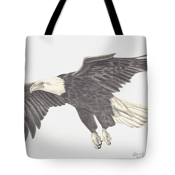 Tote Bag featuring the drawing Bird Of Prey by Patricia Hiltz