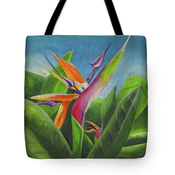 Tote Bag featuring the painting Hawaiian Bird Of Paradise by Thomas J Herring