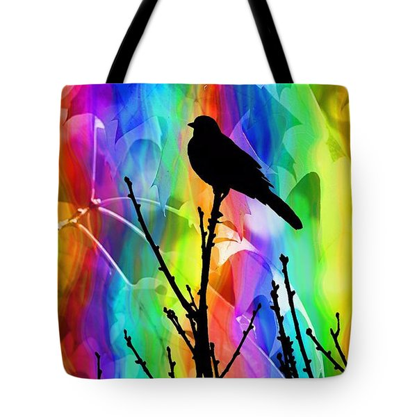 Tote Bag featuring the photograph Bird On A Stick by Elizabeth Budd