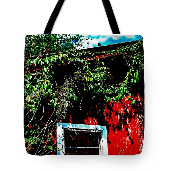 Tote Bag featuring the photograph Bird On Roof by Maggy Marsh