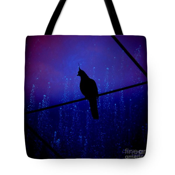 Tote Bag featuring the photograph Bird On The Wire ... by Chris Armytage