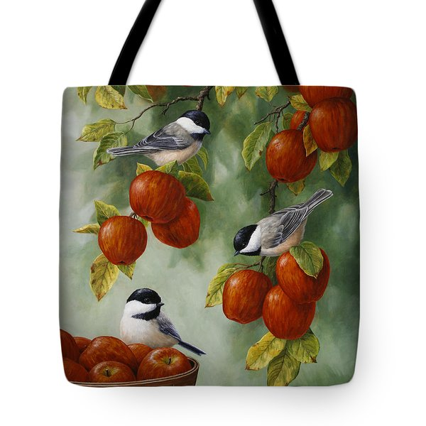Bird Painting - Apple Harvest Chickadees Tote Bag by Crista Forest