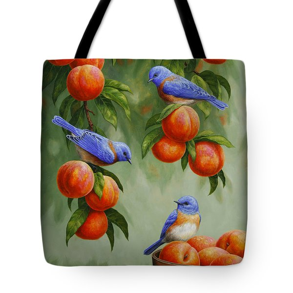 Bird Painting - Bluebirds And Peaches Tote Bag by Crista Forest