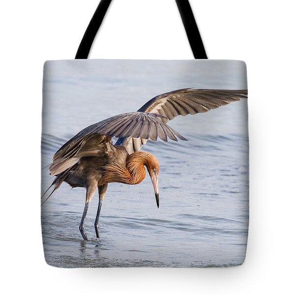 Bird Photograph Reddish Egret Fishing In Ocean  Tote Bag