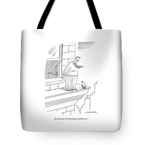 Bird Talking To Man Standing On The Ledge Tote Bag