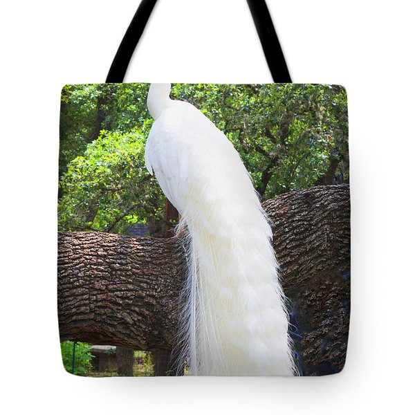 Bird - White Peacock Pose- Luther Fine Art Tote Bag