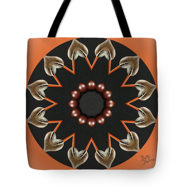 Tote Bag featuring the photograph Bird With Egg Kaleidoscope by Betty Denise